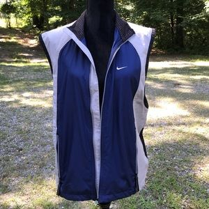 NAVY + GREY ZIP UP EXERCISE WORKOUT NIKE VEST